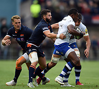 Semesa Rokoduguni of Bath Rugby takes on the Edinburgh defence. Pre-season friendly match, between Edinburgh Rugby and Bath Rugby on August 17, 2018 at Meggetland Sports Complex in Edinburgh, Scotland. Photo by: Patrick Khachfe / Onside Images