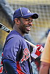 6 March 2012: Atlanta Braves outfielder Michael Bourn awaits his turn in the batting cage prior to a Spring Training game against the Washington Nationals at Champion Park in Disney's Wide World of Sports Complex, Orlando, Florida. The Nationals defeated the Braves 5-2 in Grapefruit League action. Mandatory Credit: Ed Wolfstein Photo