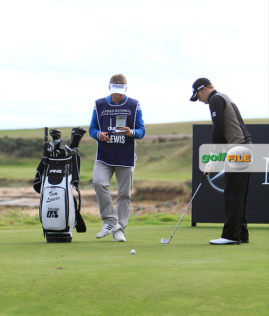 Tom Lewis (ENG) during Round 1of the Alfred Dunhill Links Championship at Kingsbarns Golf Club on Thursday 26th September 2013.<br /> Picture:  Thos Caffrey / www.golffile.ie