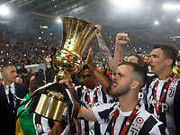 Juventus player celebrateafter winning   the  Coppa Italia ( Tim Cup) final soccer match,  Ac Milan  - Juventus Fc       at  the Stadio Olimpico in Rome  Italy , 09 May 2018