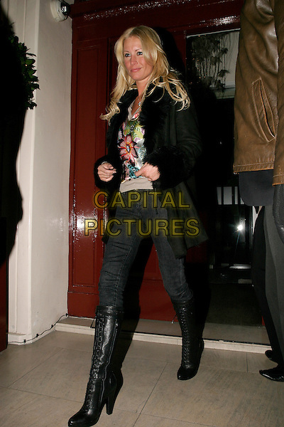 DENISE VAN OUTEN.Afterparty of Gala Screening of George Michael: A Different Story at Morton's, Berkeley Square, London, UK..December 5th, 2005.Ref: AH.full length black boots jeans denim black coat jacket.www.capitalpictures.com.sales@capitalpictures.com.© Capital Pictures.