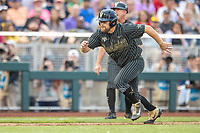 Vanderbilt Commodores outfielder Stephen Scott (19) runs home against the Michigan Wolverines during Game 2 of the NCAA College World Series Finals on June 25, 2019 at TD Ameritrade Park in Omaha, Nebraska. Vanderbilt defeated Michigan 4-1. (Andrew Woolley/Four Seam Images)