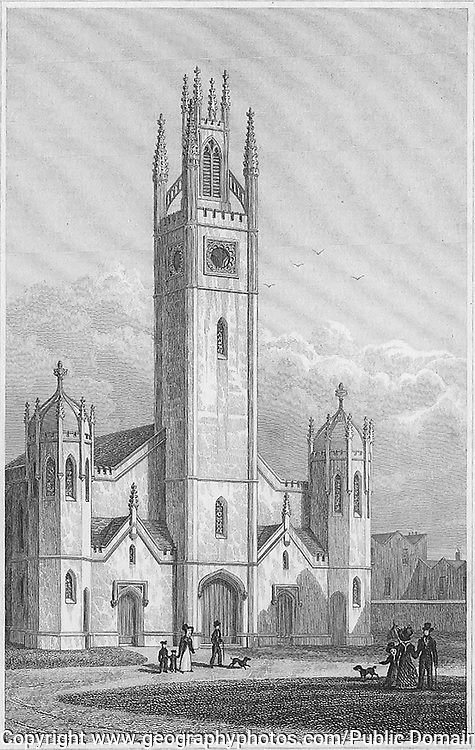 New Church, Haggerstone, engraving 'Metropolitan Improvements, or London in the Nineteenth Century' London, England, UK 1828 , drawn by Thomas H Shepherd