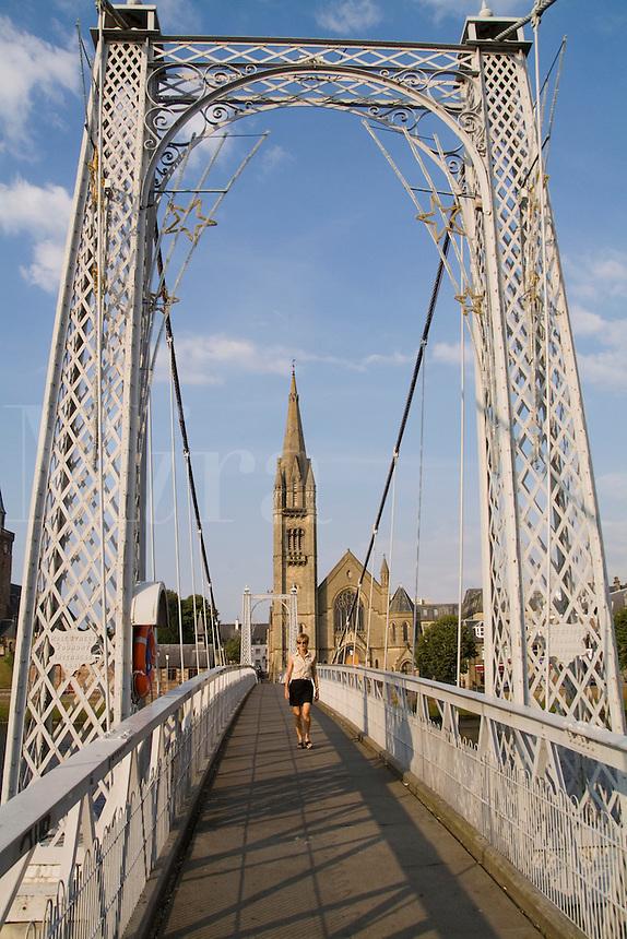 Walking Bridge and the Free Church of Scotland in Inverness Scotland.