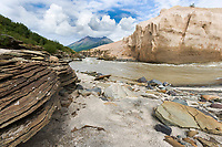 Ukak river, Valley of 10,000 smokes, Katmai National Park, Alaska. Ash landscape from the 1912 Novarupta volcano eruption.