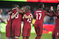 San Jose, Ca - Friday March 24, 2017: Alejandro Bedoya Clint Dempsey Jozy Altidore Darlington Nagbe during the USA Men's National Team defeat of Honduras 6-0 during their 2018 FIFA World Cup Qualifying Hexagonal match at Avaya Stadium.