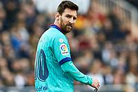 25th January 2020; Mestalla, Valencia, Spain; La Liga Football,Valencia versus Barcelona; Lionel Messi of FCB watches the action forming