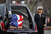 The casket of former President George H.W. Bush sits in a hearse in front of the U.S. Capitol, Wednesday, Dec. 5, 2018, in Washington. <br /> Credit: Shawn Thew / Pool via CNP / MediaPunch