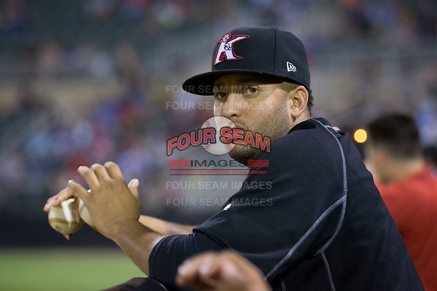 Kannapolis Intimidators pitcher Kelvis Valerio (22) watches the action from the dugout during the game against the West Virginia Power at Kannapolis Intimidators Stadium on June 17, 2017 in Kannapolis, North Carolina.  The Power defeated the Intimidators 6-1.  (Brian Westerholt/Four Seam Images)