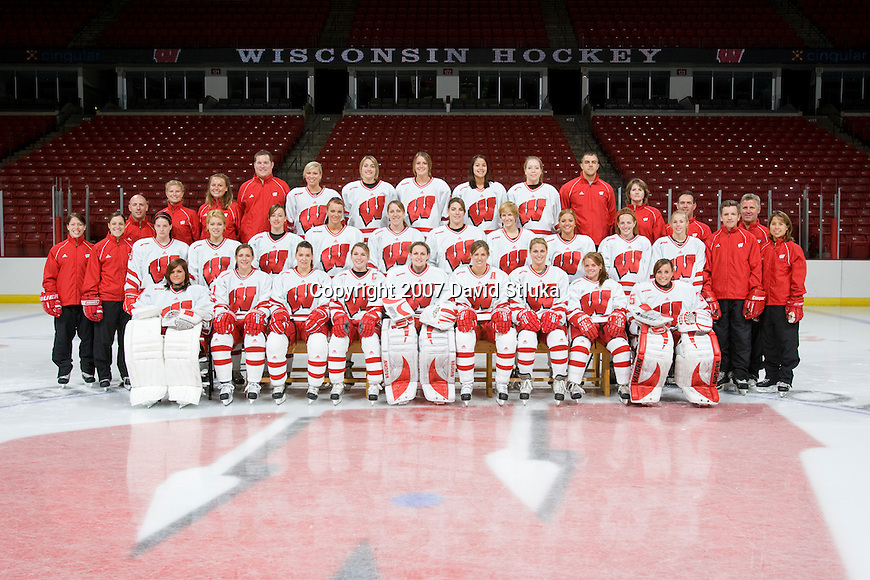 MADISON, WI - SEPTEMBER 24: Team photo of the Wisconsin Badgers Women's Hockey Team taken at the Kohl Center on September 24, 2007 in Madison, Wisconsin. The Badgers are two-time defending National Champions. (Photo by David Stluka)