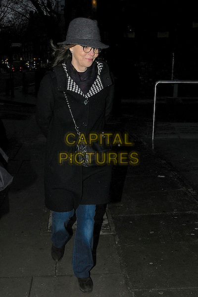 Sally Field .Spotted leaving her hotel in central London, England..8th February 2013.full length black jacket houndstooth dogtooth  collar grey gray hat glasses bag purse top jeans denim  .CAP/IA.©Ian Allis/Capital Pictures.