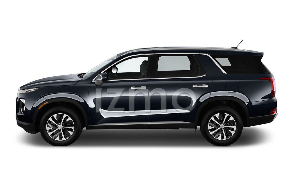Car driver side profile view of a 2020 Hyundai Palisade SEL 5 Door SUV