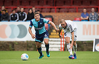 Adam El-Abd of Wycombe Wanderers holds off Scott Rendell of Aldershot Town during the pre season friendly match between Aldershot Town and Wycombe Wanderers at the EBB Stadium, Aldershot, England on 22 July 2017. Photo by Andy Rowland.