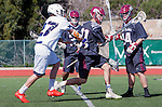 Manhattan Beach, CA 02-11-17 - Matt Palmer (Santa Clara #21), \s34\ and Austin Gay (Loyola Marymount #27) in action during the MCLA non-conference game between LMU (SLC) and Santa Clara (WCLL).  Santa Clara defeated LMU 18-3.
