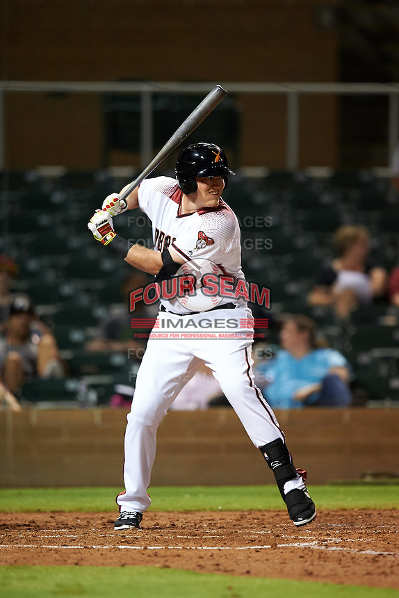 Salt River Rafters Kevin Cron (32), of the Arizona Diamondbacks organization, during a game against the Peoria Javelinas on October 11, 2016 at Salt River Fields at Talking Stick in Scottsdale, Arizona.  The game ended in a 7-7 tie after eleven innings.  (Mike Janes/Four Seam Images)