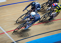 25th January 2020; National Cycling Centre, Manchester, Lancashire, England; HSBC British Cycling Track Championships; Ellie Stone leads with one lap to go in her female keirin heat, she went on to finish second and had to go into the repechage to try to progress