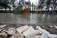 Marine debris and plastics pollution is seen in a flooded playground on a public housing estate during the aftermath of the passing of Typhoon Hato, Heng Fa Chuen, Hong Kong, China, 23 August 2017.<br /> ALEX HOFFORD