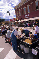 Gold Rush tourists and locals mining for gold in festival in Buena Vista Colorado USA fun in celebration of Western Histor