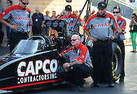 Jun. 29, 2012; Joliet, IL, USA: NHRA crew members for top fuel dragster driver Steve Torrence during qualifying for the Route 66 Nationals at Route 66 Raceway. Mandatory Credit: Mark J. Rebilas-