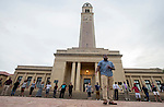 BATON ROUGE, LA -JULY 11: Myron Smothers speaks to 100 people that gathered at the Memorial Tower on the LSU campus for a prayer vigil after Smothers posted to social media July 11, 2016 in Baton Rouge, Louisiana. Alton Sterling was shot by a police officer in front of the Triple S Food Mart in Baton Rouge on July 5th, leading the Department of Justice to open a civil rights investigation. (Photo by Mark Wallheiser/Getty Images)