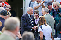 Picture by Alex Whitehead/SWpix.com - 12/09/2014 - Cricket - LV County Championship Div One - Nottinghamshire CCC v Yorkshire CCC, Day 4 - Trent Bridge, Nottingham, England - Yorkshire's club president Dickie Bird is congratulated by supporters.