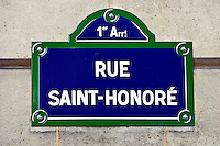 Rue Saint-Honoré street sign, Paris, France