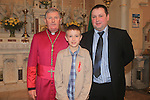 Jamie Lane and Dad John with Bishop Smith.Slane Confirmation..Picture: Fran Caffrey / www.newsfile.ie ..