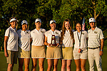 STILLWATER, OK - MAY 21: Jennifer Kupcho of Wake Forest poses with her team and her trophy for winning the Division I Women's Golf Individual Championship held at the Karsten Creek Golf Club on May 21, 2018 in Stillwater, Oklahoma. (Photo by Shane Bevel/NCAA Photos via Getty Images)
