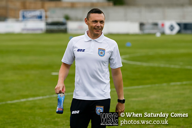 Micky Long, Yorkshire Team Coach. Yorkshire v Parishes of Jersey, CONIFA Heritage Cup, Ingfield Stadium, Ossett. Yorkshire's first competitive game. The Yorkshire International Football Association was formed in 2017 and accepted by CONIFA in 2018. Their first competative fixture saw them host Parishes of Jersey in the Heritage Cup at Ingfield stadium in Ossett. Yorkshire won 1-0 with a 93 minute goal in front of 521 people. Photo by Paul Thompson