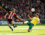 Time Klose of Norwich City intercepts Ched Evans of Sheffield Utd during the Championship match at Bramall Lane Stadium, Sheffield. Picture date 16th September 2017. Picture credit should read: Simon Bellis/Sportimage