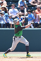 Kyle Garlick #4 of the Oregon Ducks bats against the UCLA Bruins at Jackie Robinson Stadium on May 18, 2014 in Los Angeles, California. Oregon defeated UCLA, 5-4. (Larry Goren/Four Seam Images)