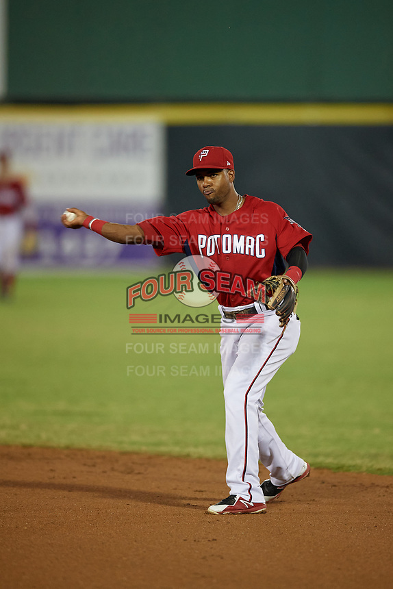 Potomac Nationals second baseman Osvaldo Abreu (5) throws to first base during a Carolina League game against the Myrtle Beach Pelicans on August 14, 2019 at Northwest Federal Field at Pfitzner Stadium in Woodbridge, Virginia.  Potomac defeated Myrtle Beach 7-0.  (Mike Janes/Four Seam Images)