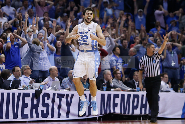 North Carolina Tar Heels forward Luke Maye reacts after hitting a game winning shot against the Kentucky Wildcats with 0.3 seconds remaining during the 2017 NCAA Men's Basketball Tournament South Regional Elite 8 at FedExForum in Memphis, TN on Friday March 24, 2017. Photo by Michael Reaves | Staff