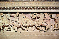 Greek relief sculpture of a lion hunt  on Alexander The Great ( Alexander III of Macedon )4th Cent BC. Sarcophagus calved from Pentelic Marble from the Royal Necropolis of Sidon, Chamber no.III, Lebanon. Istanbul Archaeological Museum Inv. 370T Cat. Mendel 68