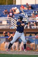 State College Spikes third baseman Cole Lankford (3) at bat aduring a game against the Batavia Muckdogs August 22, 2015 at Dwyer Stadium in Batavia, New York.  State College defeated Batavia 5-3.  (Mike Janes/Four Seam Images)