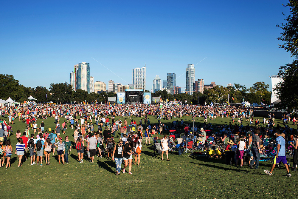 Austin, Texas - October 12: Austin City Limits Music Festival Stage over looking the downtown Austin SkylineRelease Information: <br />