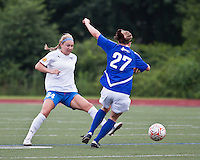 ASA Chesapeake Charge forward/defender Nicole Clark (27) passes the ball around Boston Breakers forward Courtney Jones (84).  In a Women's Premier Soccer League Elite (WPSL) match, the Boston Breakers defeated ASA Chesapeake Charge, 3-1, at Dilboy Stadium on July 6, 2012.