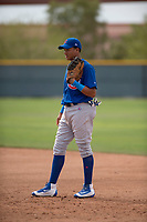 Chicago Cubs first baseman Fidel Mejia (16) during a Minor League Spring Training game against the Oakland Athletics at Sloan Park on March 13, 2018 in Mesa, Arizona. (Zachary Lucy/Four Seam Images)