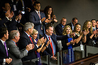 TALLAHASSEE, FLA. 1/12/16-Jacksonville Mayor Lenny Curry center, flashes a thumbs up after being recognized by Gov. Rick Scott during his State of the State address  during the opening day of the 2016 legislative session, Tuesday at the Capitol in Tallahassee. Curry was one of six mayors Scott recognized as being in favor of his plan to increase funding for Enterprise Florida.<br /> <br /> COLIN HACKLEY PHOTO