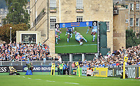 A view of the big screen at the Recreation Ground showing a replay of the Jonathan Joseph try. Aviva Premiership match, between Bath Rugby and London Irish on September 28, 2013 at the Recreation Ground in Bath, England. Photo by: Patrick Khachfe / Onside Images