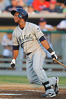 Mobile Bay Bears right fielder Alfredo Marte #21 swings at a pitch during the Southern League All-Star Game  at Smokies Park on June 19, 2012 in Kodak, Tennessee.  The South Division defeated the North Division 6-2. (Tony Farlow/Four Seam Images).
