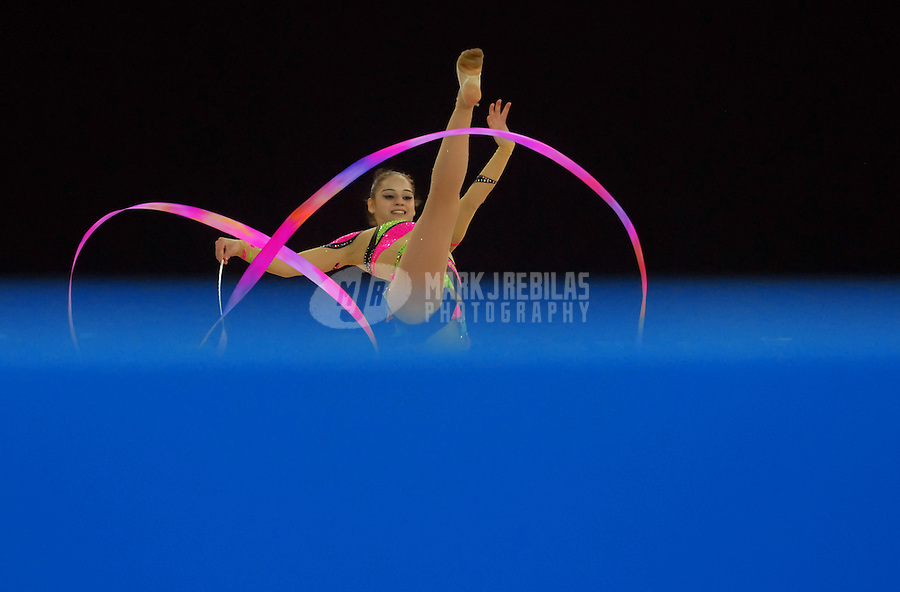 July 27, 2007: Rio de Janeiro, Brazil: Anahi Sosa (ARG) performs her ribbon routine during the individual womens rhythmic gymnastics finals at the 2007 Pan Am Games at the Multi-use Arena. Mandatory Credit: Mark J. Rebilas-US PRESSWIRE Copyright © 2007 Mark J. Rebilas