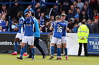 Fans & players at the end during Macclesfield Town vs Leyton Orient, Vanarama National League Football at the Moss Rose Stadium on 14th April 2018