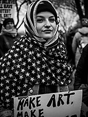 Make Art - A protester shows her solidarity with muslim women during the Women's March in Washington DC 21 January, 2017