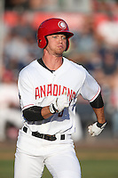 Carl Wise (6) of the Vancouver Canadians runs the bases during a game against the Tri-City Dust Devils at Nat Bailey Stadium on July 23, 2015 in Vancouver, British Columbia. Tri-City defeated Vancouver, 6-4. (Larry Goren/Four Seam Images)