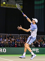 Rotterdam, The Netherlands, 13 Februari 2019, ABNAMRO World Tennis Tournament, Ahoy,  Gael Monfils (FRA) Andreas Seppi (ITA)<br /> <br /> Photo: www.tennisimages.com/Henk Koster