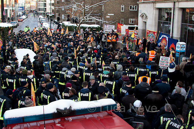 London, 21/01/2013. Today, hundreds of London firefighters protested outside the HQ of the London Fire Brigade in Union Street. The demonstration called by the FBU (Fire Brigade Union) aimed to protest against the London Fire and Emergency Planning Authority (LFEPA) meeting where the discussion was about the plane to close 12 fire stations, make 520 firefighters compulsory redundant and remove 18 fire engines.
