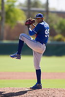 Los Angeles Dodgers pitcher Aldry Acosta (95) delivers a pitch to the plate during an Instructional League game against the Chicago White Sox on September 30, 2017 at Camelback Ranch in Glendale, Arizona. (Zachary Lucy/Four Seam Images)