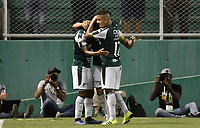 PALMIRA - COLOMBIA, 03-08-2019: Matias Cabrera del Cali celebra con sus  compañeros después de anotar el segundo gol de su equipo durante partido entre Deportivo Cali y La Equidad por la fecha 4 de la Liga Águila II 2019 jugado en el estadio Deportivo Cali de la ciudad de Palmira. / Matias Cabrera of Cali celebrates with his teammates after scoring the second goal of his team during match between Deportivo Cali and La Equidad for the date 4 as part Aguila League II 2019 played at Deportivo Cali stadium in Palmira city. Photo: VizzorImage / Gabriel Aponte / Staff