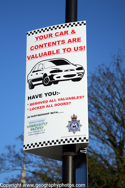 Police sign warning of theft from cars